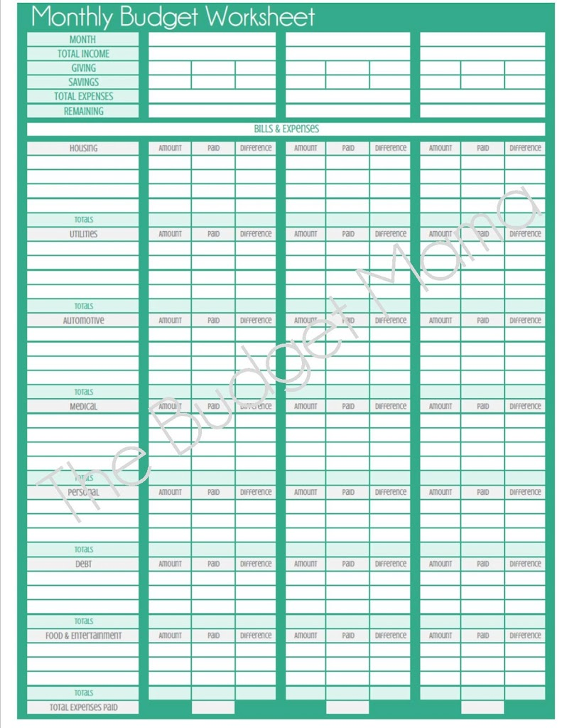 worksheet Printable Monthly Budget Worksheet monthly budget worksheet template printable templates and worksheets free cute design in