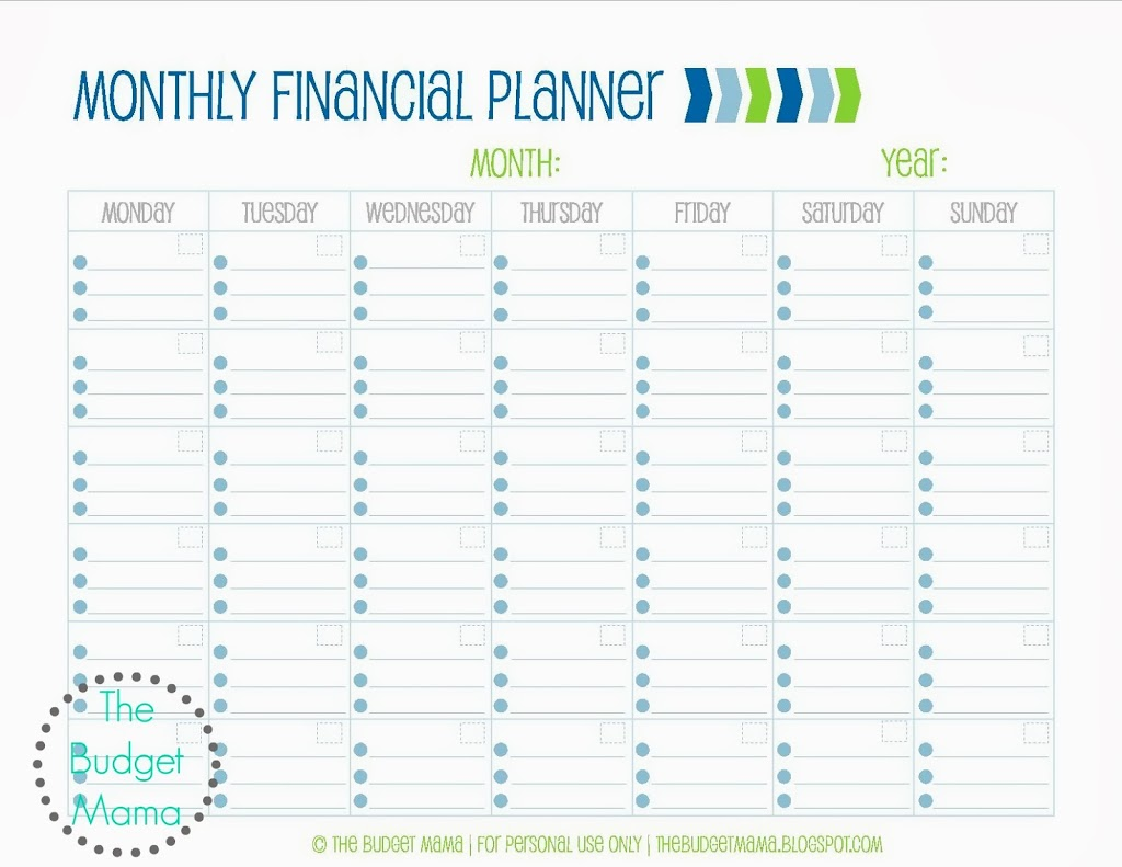 Galerry printable monthly financial planner