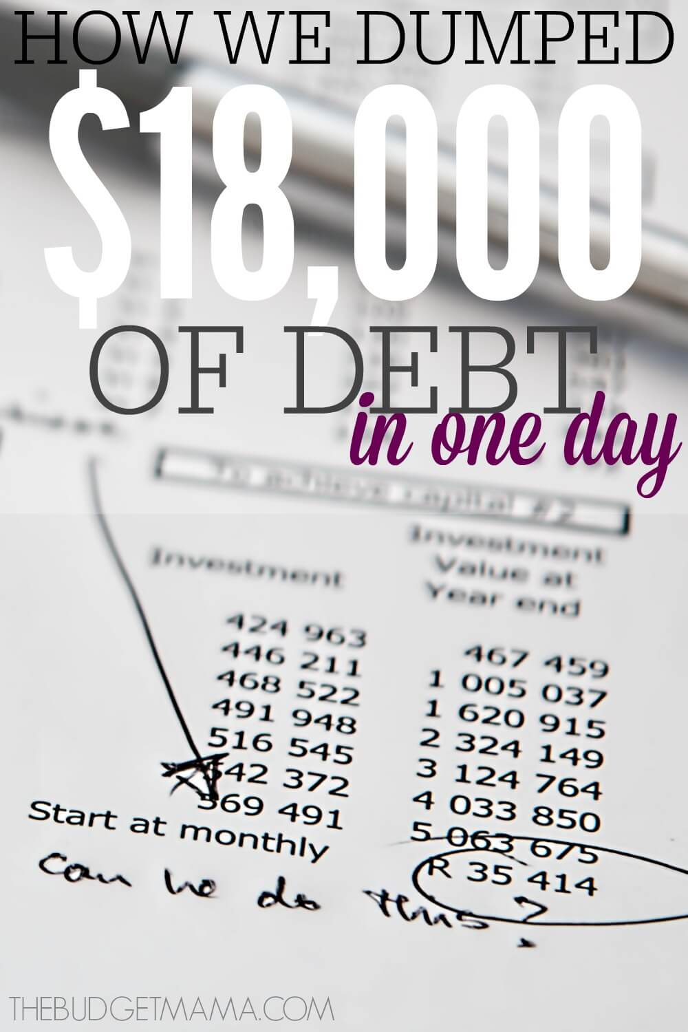 Becoming debt-free isn't always easy. We sometimes have to make though decisions and dumping $18K of debt in one day was a very though decision.
