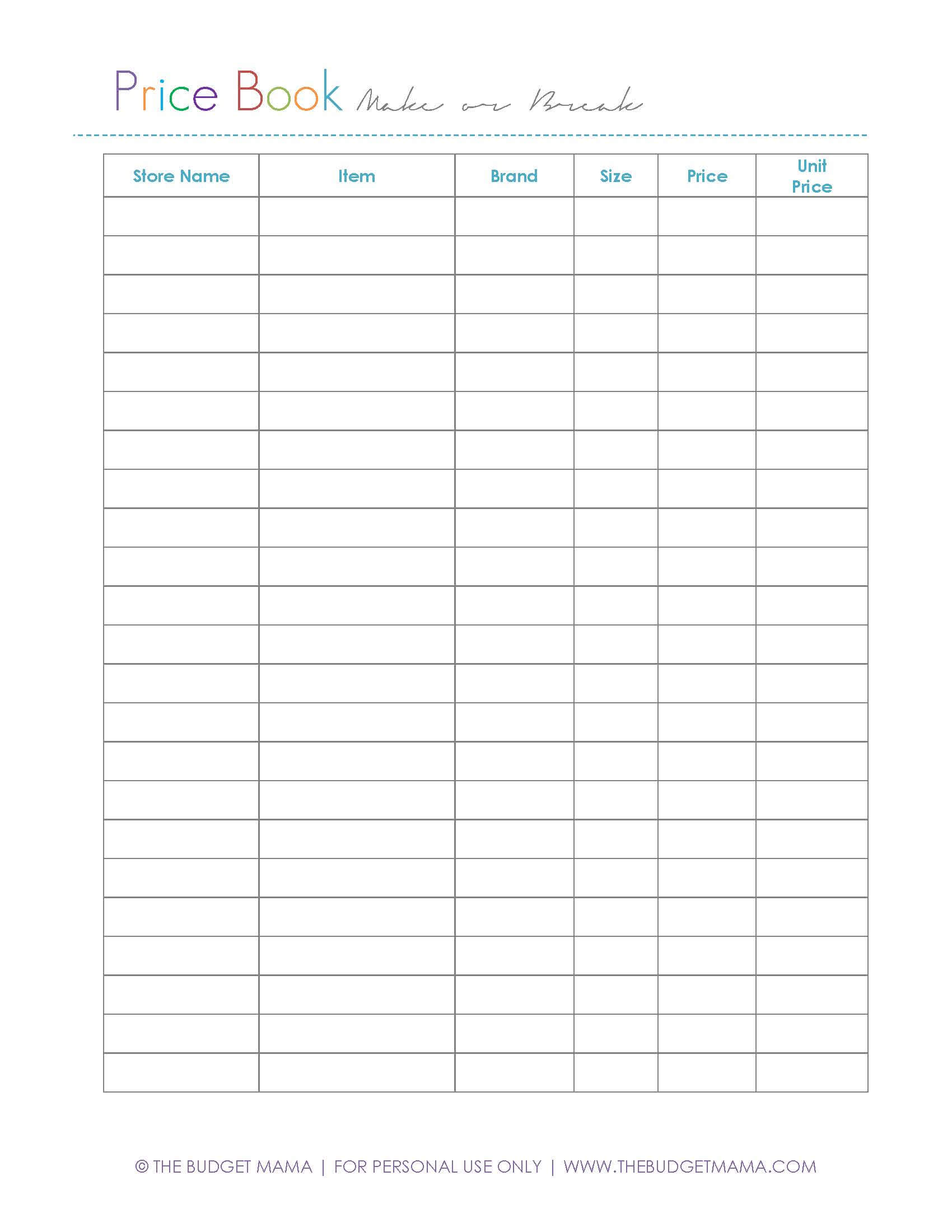 Make or Break Price Using a Price Book Jessi Fearon – Comparison Shopping Worksheets