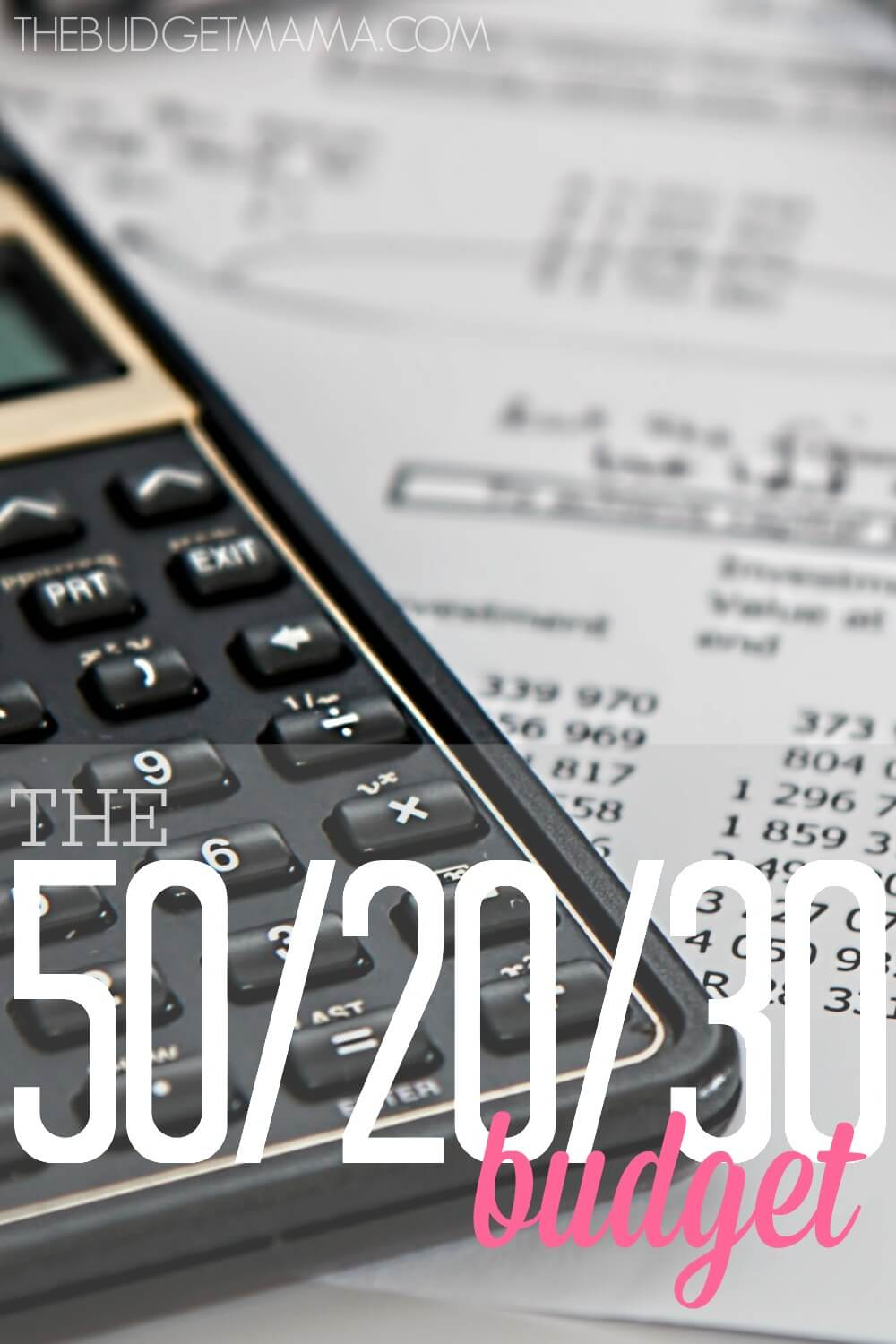 The 50/20/30 budget makes figuring out those budget percentages and categories easier. Start using the 50/20/30 method today and make your budget work!