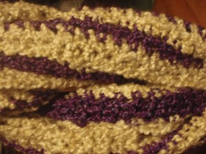 Hand Crocheted Extra Long Infinity Scarf - Off White and Dark Purple