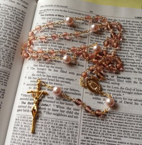 Rose Glow Czech glass bead & Rosaline Swarovski crystal pearl rosary with gold plated crucifix and Our Lady of Guadalupe center