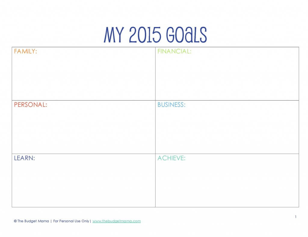 Use the Goals Worksheet at the beginning of the planner to write down ...