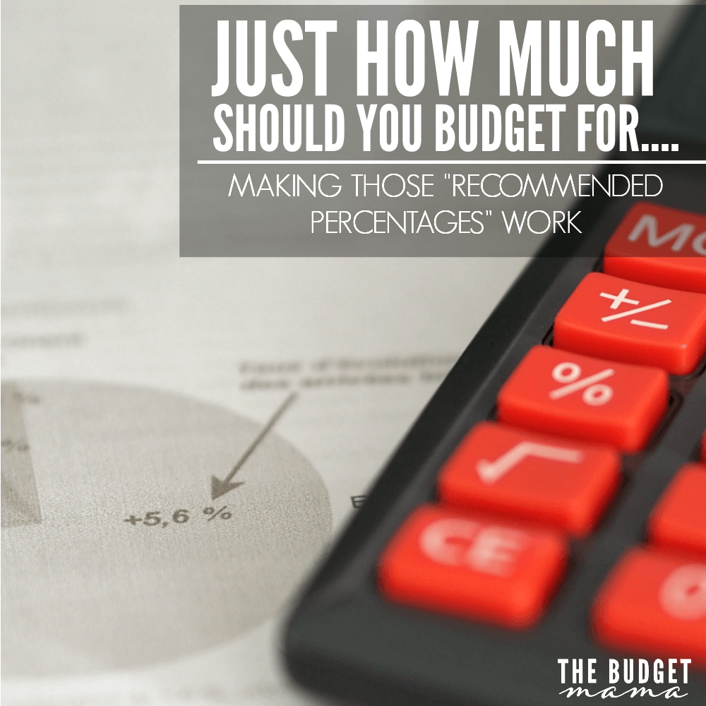 """By now, I'm sure you've heard of those """"recommended percentages"""" in budgeting and I'm sure you've already come to the conclusion that they don't work for you. But, just how much should you budget for this or that? This is my simple answer."""