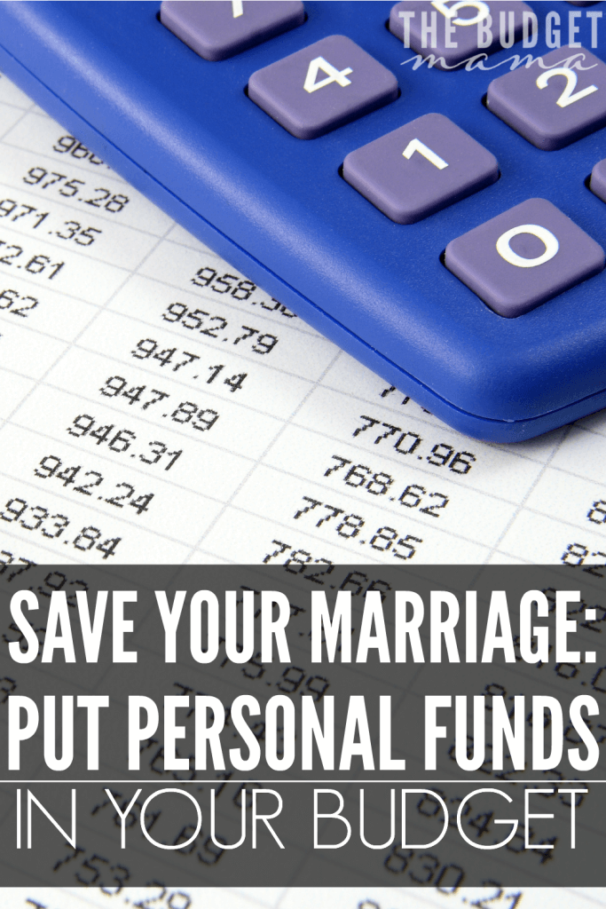 Putting personal funds in your budget can help to save your marriage when it comes to money fights. I love how Cat gives an account of how this works for her marriage and family!