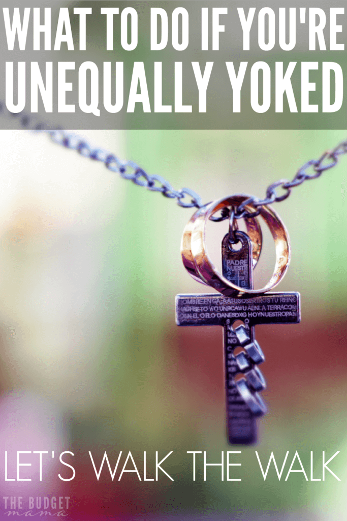 "What to do if you are unequally yoked? When I married my husband, he was an atheist which was difficult for this devout Catholic girl. But I didn't give up and even though we're still not perfectly ""yoked"", we're stronger than ever by walking the walk."