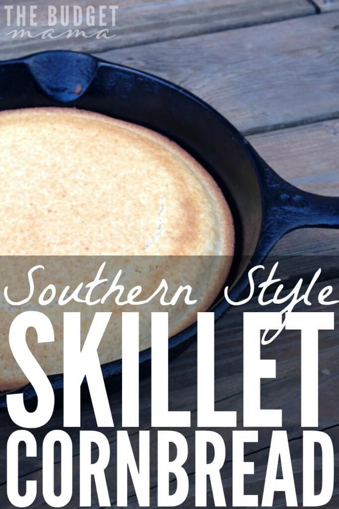 This Southern style skillet cornbread is the perfect compliment to BBQ, chili, and stews. It's super easy to make and uses no buttermilk.