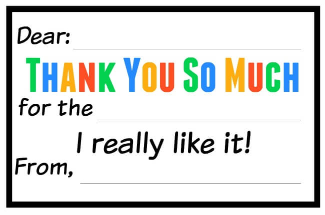 picture about Free Printable Thank You Cards for Students called Thank By yourself Notes for Children - Free of charge Printable - Jessi Fearon