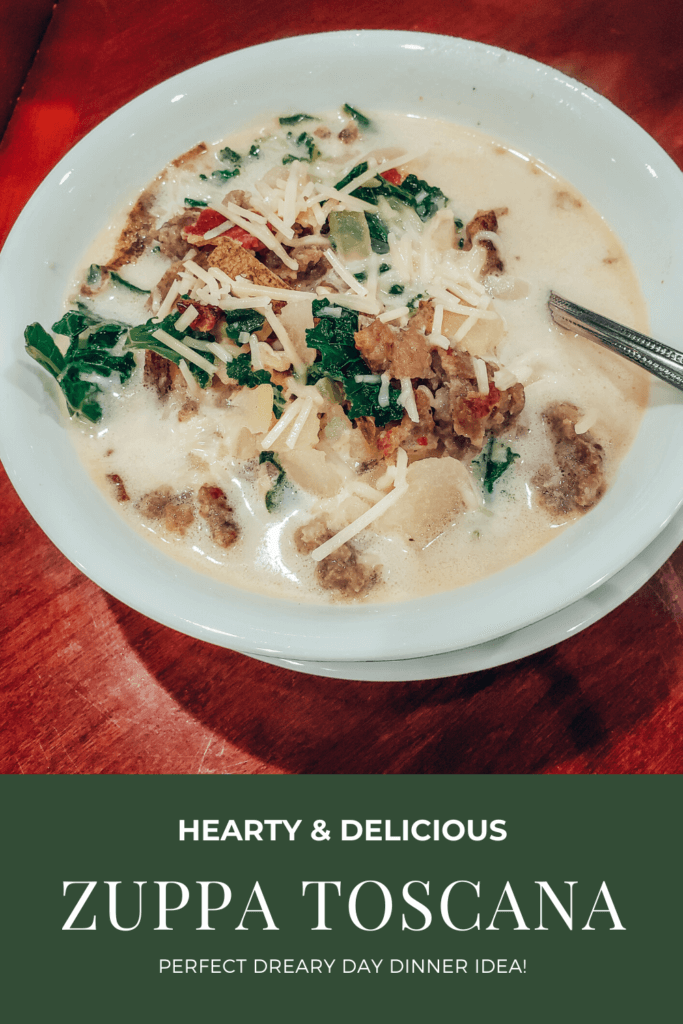 Super delicious hearty homemade zuppa toscana! This is the perfect soup to serve on a dreary day and it sure to please those meat-loving folks in your family!