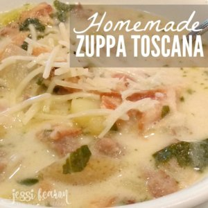 Homemade Zuppa Toscana; This copycat of Olive Garden's Zuppa Toscana is hearty and delicious! It'll please the meat eaters in your home and best part is...it's clean-eating!