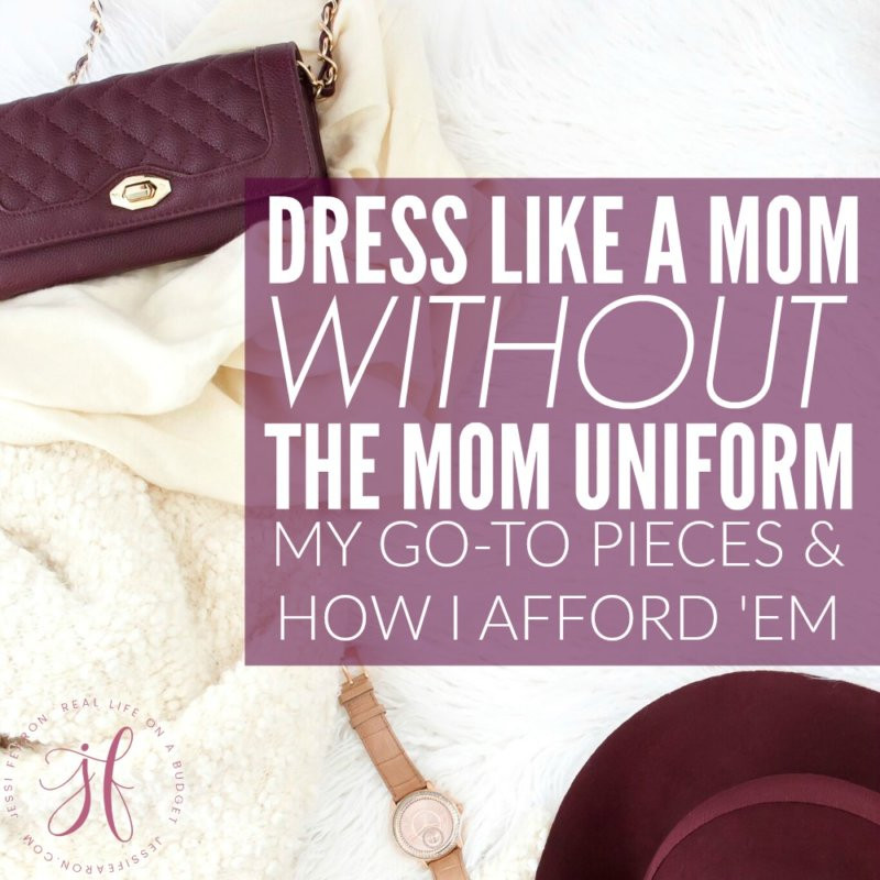 "Want to be comfortable but don't want to wear the dreaded ""mom uniform""? These mom style tips will share my favorite pieces along with how I afford them as a mom to three kiddos."