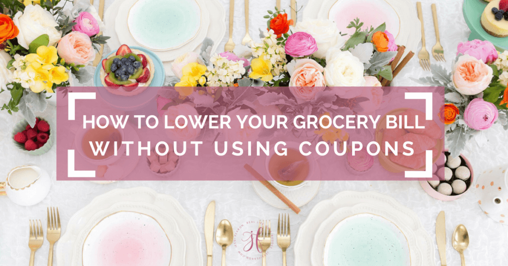 How to lower your grocery bill WITHOUT using coupons! As a mom of 3, I know how quickly the food bill can rise. These are just a few of the things we've done to lower our grocery bill without using coupons!