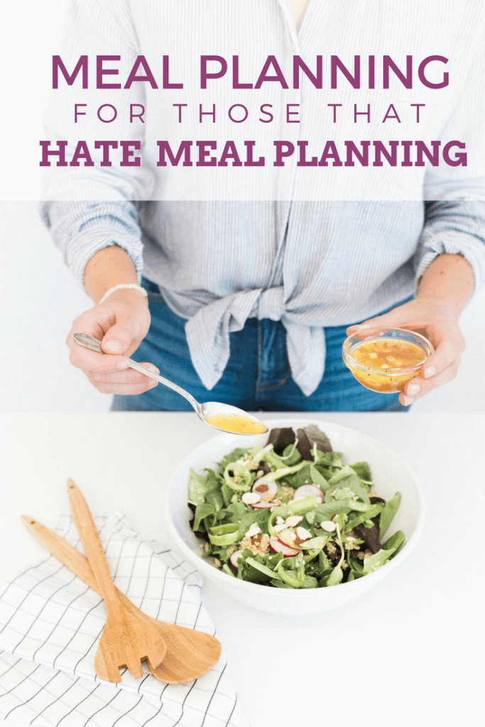 Hate to meal plan? You're not alone. I have a total love/hate relationship with meal planning. Here are a few ways I've been able to make meal planning work for me. #mealplanning #family #frugalliving #food #planner