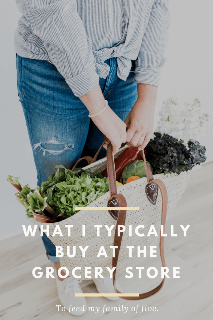 We live on a modest grocery budget for our family five. A lot of folks have asked me to share what I typically purchase for our family at the grocery store, so here goes!