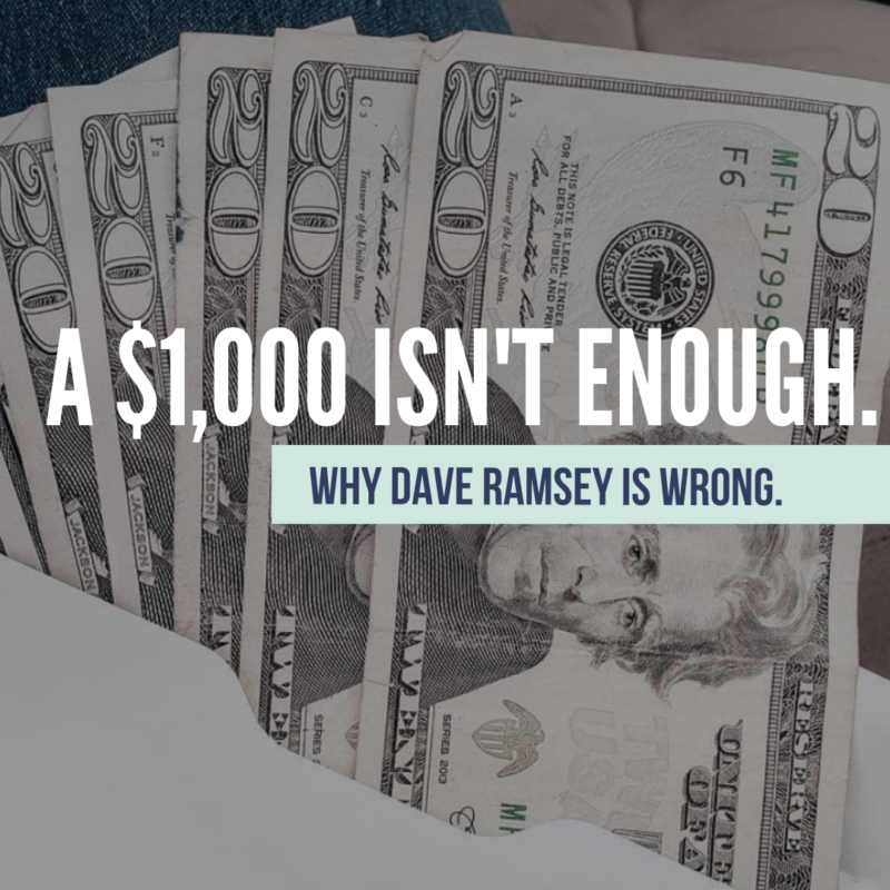 Dave Ramsey is wrong on having only a $1,000 Starter Emergency Fund. This is how to build a Starter Emergency Fund that will actually help protect your family.